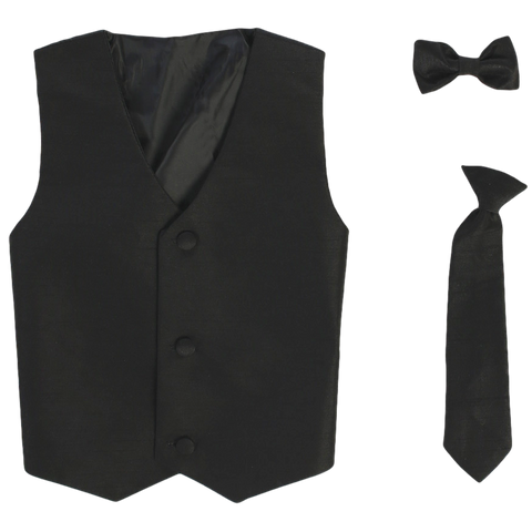 Black Vest & Tie Set Poly Silk w Necktie or BowTie Boys (735)