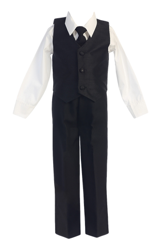 Black Poly Silk Vest & Pants Little Boys 4 Pc Outfit (G823)
