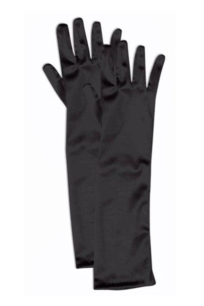 Girls Black Satin Long Elbow Length Gloves