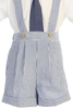 Striped Blue Cotton Seersucker Boys Suspender Shorts Set  G822