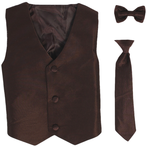 Brown Vest & Tie Set Poly Silk w Necktie or BowTie Boys (735)