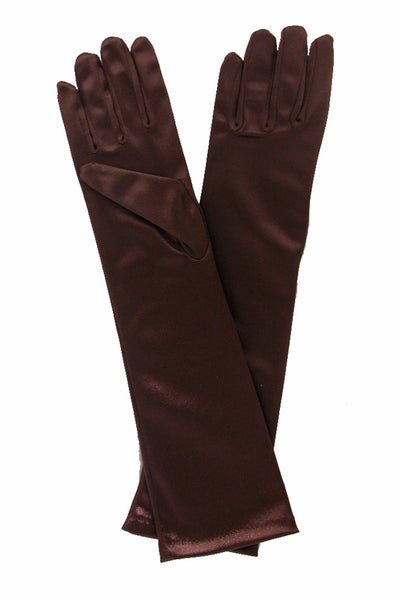 Girls Brown Satin Long Elbow Length Gloves