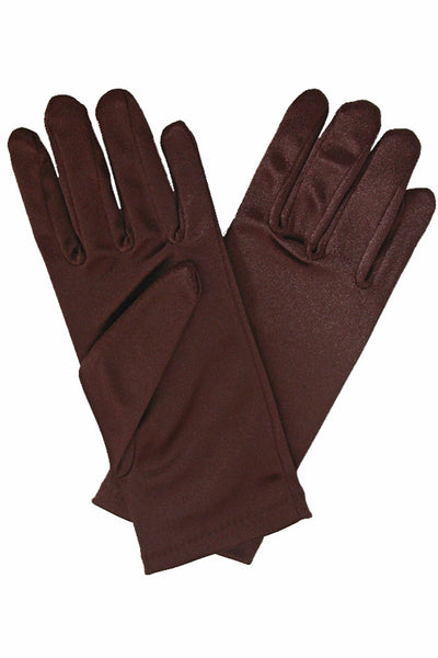 Girls Brown Satin Short Wrist Length Gloves