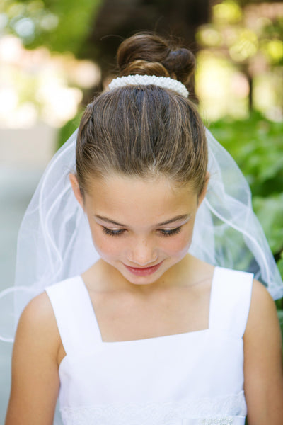 "Pearl Accented Girls 28"" White Communion Bun Veil"