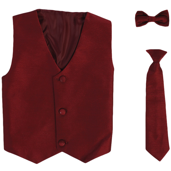 Burgundy Boys Poly-Silk Vest & Tie Set  735