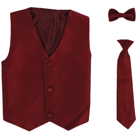 Burgundy Vest & Tie Set Poly Silk with Tie Choice Boys (735)