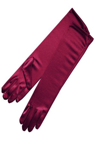 Girls Burgundy Satin Long Elbow Length Gloves