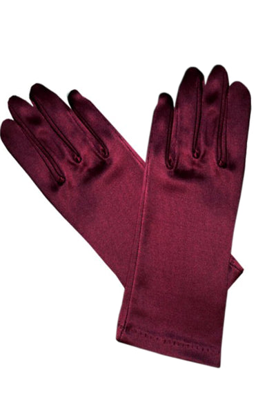 Girls Burgundy Satin Short Wrist Length Gloves