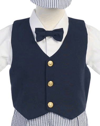 Boys Navy Blue Vest & Seersucker Shorts Dressy Set with Newsboy Hat G821