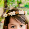 Champagne Silk & Satin Floral Crown Wreath Girls (HB007)