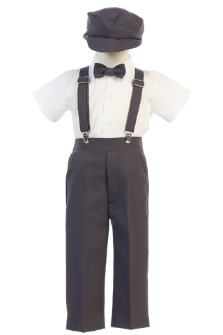 Charcoal Grey Suspender Pants 5 Pc Spring Outfit Baby to Little Boys (G825)