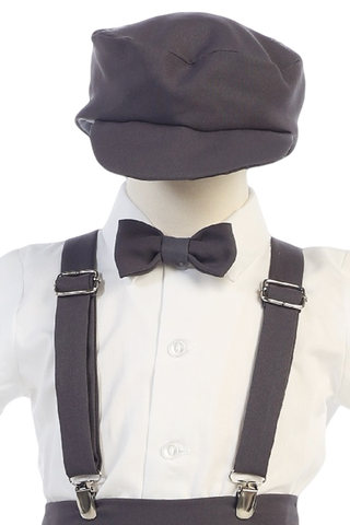 Boys Charcoal Grey Short Sleeve Suspender Pant Set with Hat  G825