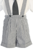 Charcoal Grey Seersucker Suspender Shorts 4 Pc Spring Outfit Baby Boys (G822)