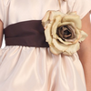 CHOCOLATE BROWN - BL90P POLY SILK SASH & FLOWER PIN