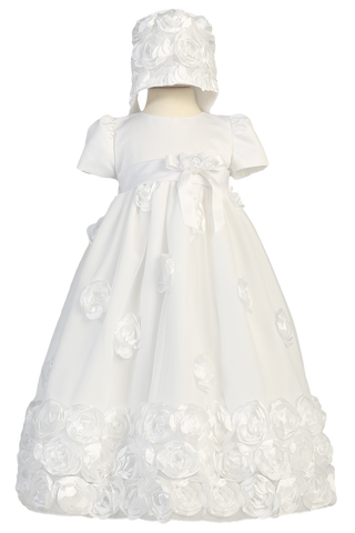 White Matte Satin & Tulle Gown with Satin Ribbon Flowers & Bonnet (CLARICE)