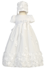 Baby Girls Floral Ribbon Tulle Baptism Dress w. Bonnet Clarice