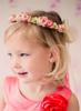 Coral Silk Floral Crown Wreath w Back Satin Bows Girls (HB007)