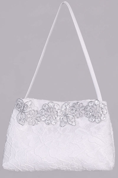 Girls White Lace Communion Purse with Silver Trim Applique