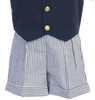 Navy Blue Seersucker Vest & Shorts Boys 5 Pc Outfit (G821)
