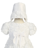 Satin Ribbon Flowers on Tulle Girls Christening Gown (Daisy)