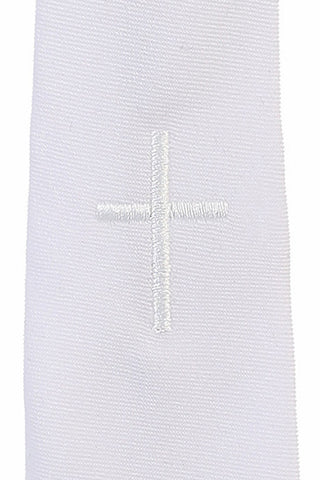 White Embroidered Cross Boys Communion Zipper Tie  LEM3