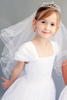 Satin, Lace & Tulle First Holy Communion Gown in White or Ivory (222)