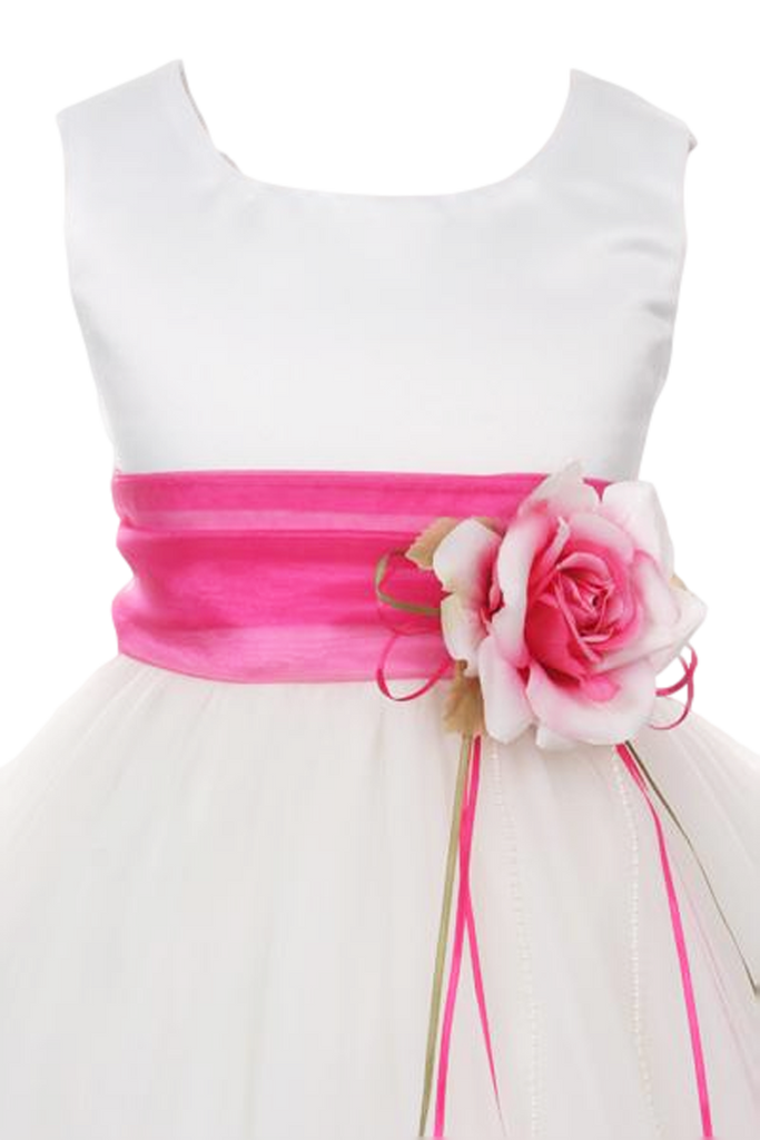 1486e573eb1 Flower Girls Satin   Tulle Petal Dress w. Removable Organza Sash 3m ...