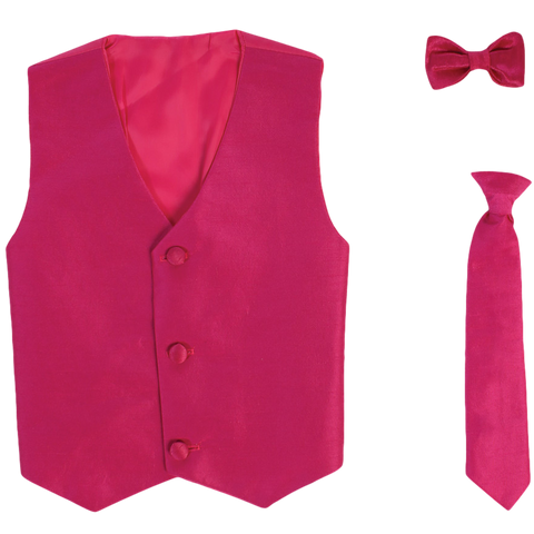 Fuchsia Vest & Tie Set Poly Silk with Tie Choice Boys (735)
