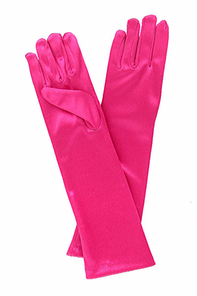 Girls Fuchsia Pink Satin Long Elbow Length Gloves