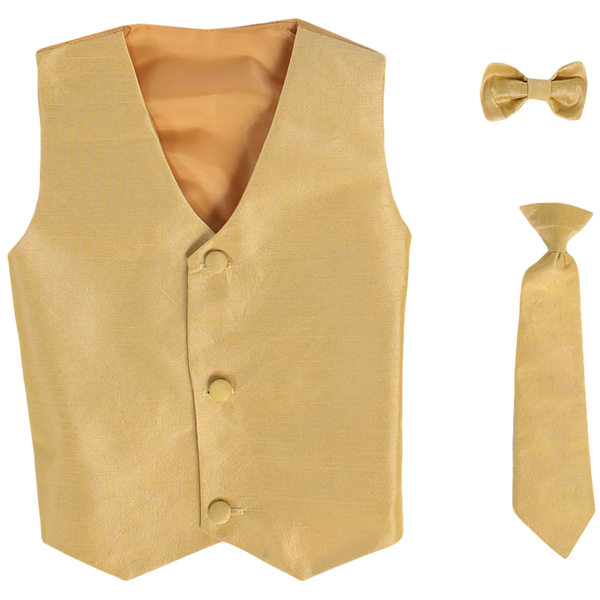 Gold Vest & Tie Set Poly Silk with Tie Choice Boys (735)