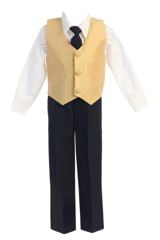 Gold Poly Silk Vest & Black Pants Boys 4 Pc Outfit (G823)