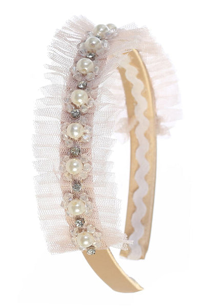 Girls Champagne Tulle Trimmed Headband w. Pearls & Rhinestones HB412