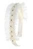 Girls Off-White Tulle Trimmed Headband w. Pearls & Rhinestones HB412