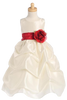 Ivory Shantung Flower Girl Dress w. Full Length Gathered Skirt BL212