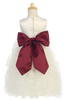 Ivory Satin & Ruffled Organza Flower Girl Dress w. Sash BL223