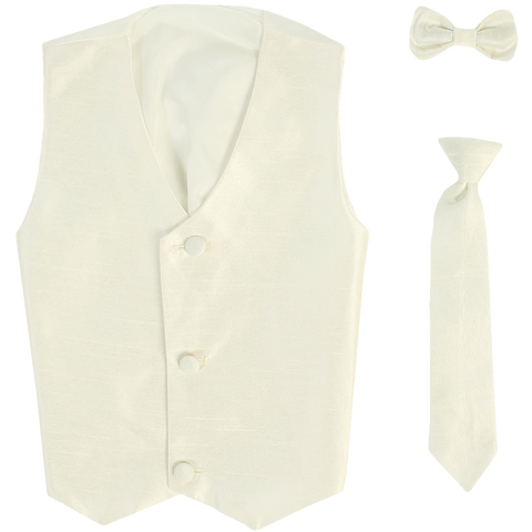 Ivory Vest & Tie Set Poly Silk with Tie Choice Boys (735)