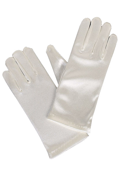Girls Ivory Satin Short Wrist Length Gloves