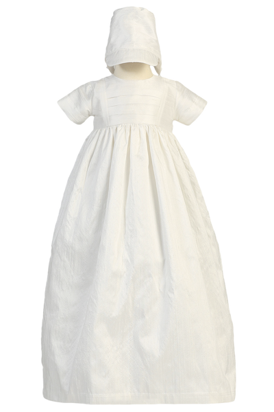Heirloom Pin Tucked Silk Christening Gown & Bonnet Boys Girls  Jamie