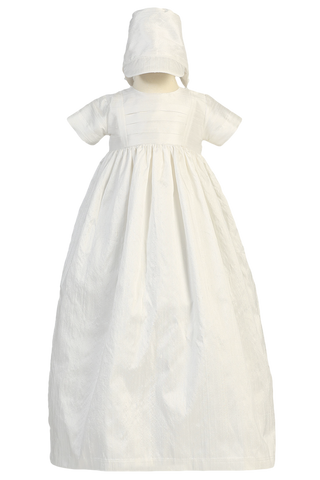 Family Heirloom Silk Christening Gown w Hat & Bonnet (Jamie)