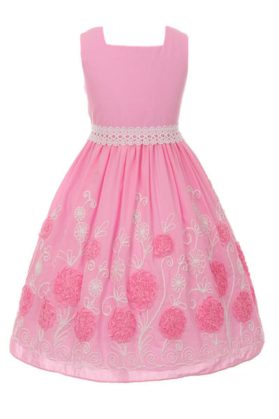 Girls Pink Cotton Dress w. Embroidered & Ribbon Flowers KD426