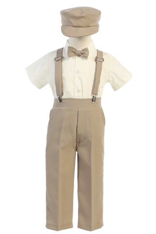 Khaki Tan Suspender Pants 5 Pc Spring Outfit Baby to Little Boys (G825)