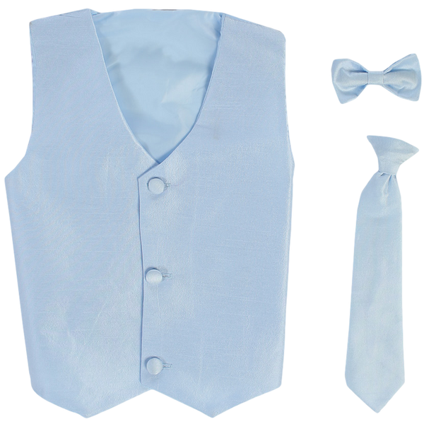Light Blue Poly-Silk Boys Vest & Tie Set  735