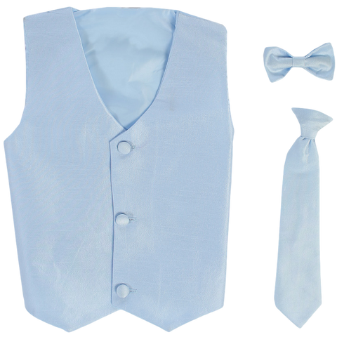 Light Blue Vest & Tie Set Poly Silk with Tie Choice Boys (735)