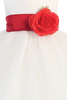 White Tulle & Poly Silk Girls Christmas Holiday Dress w Red Sash (BL228)