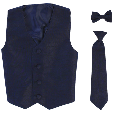 Navy Blue Vest & Tie Set Poly Silk with Tie Choice Boys (735)