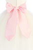 White Tulle & Poly Silk Girls Christmas Holiday Dress w Pink Sash (BL228)