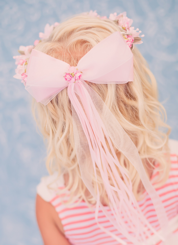 Pink Silk Floral Crown Wreath w Back Satin Bows Girls (HB007)