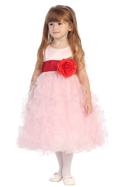 Pink Satin & Organza Ruffles Blossom Flower Girl Dress (BL223)