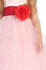 Pink Satin & Ruffled Organza Flower Girl Dress w. Sash BL223