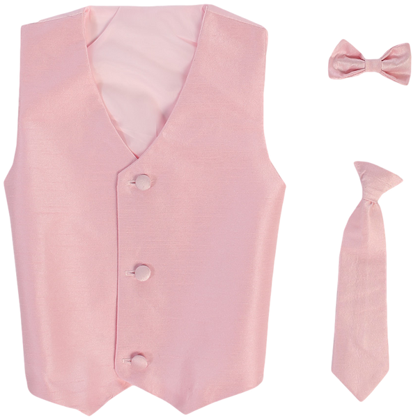 Pink Vest & Tie Set Poly Silk with Tie Choice Boys (735)